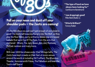 The Zoots Sounds of the 80s Palace Theatre A5 Flyer-2